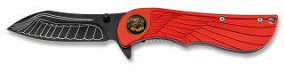 Coutea pliant FOS Albanox. Plume rouge.