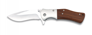 Wood and steel pocket knives