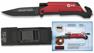 Pocket knife K25 firestarter/Flashlight Red.9
