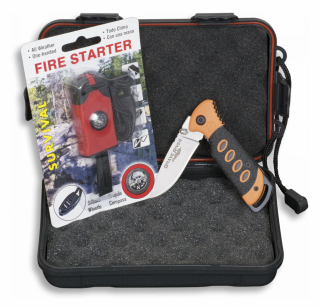 Set: Box+Fire starter+Pocket knife
