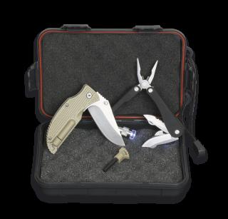 Survival set: Box+Pliers+Pocket knife+Fire starter