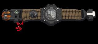 Reloj con paracord, pedernal y brujula