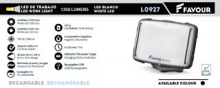 Foco FAVOUR recargable 1350 lumens